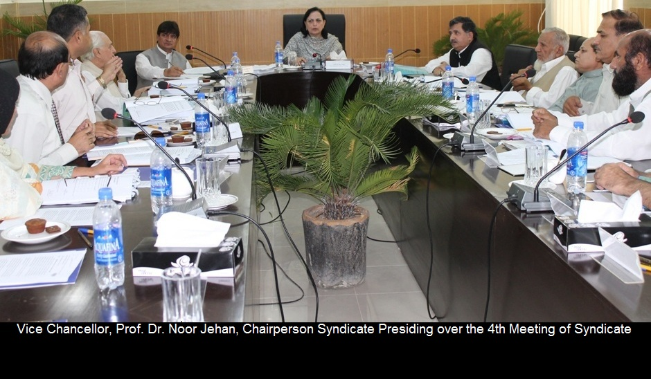 Vice Chancellor, Prof. Dr. Noor Jehan, Chairperson Syndicate Presiding over the 4th Meeting of Syndicate