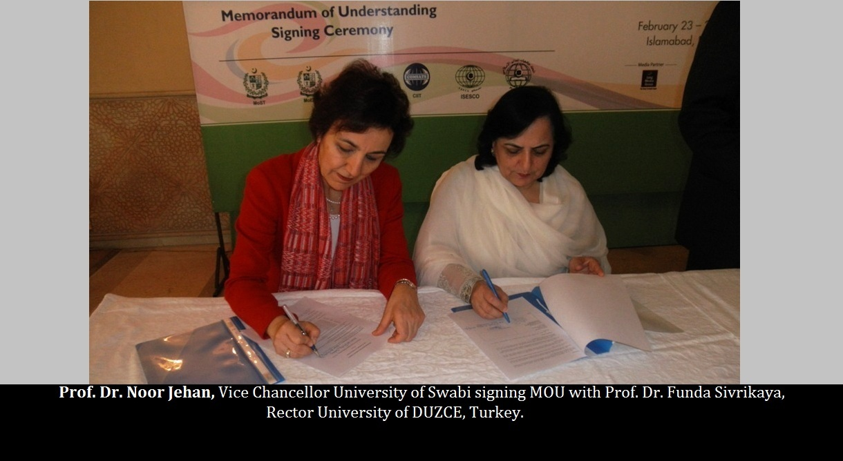 Prof. Dr. Noor Jehan, Vice Chancellor University of Swabi signing MOU with Prof. Dr. Funda Sivrikaya, Rector University of DUZCE, Turkey.