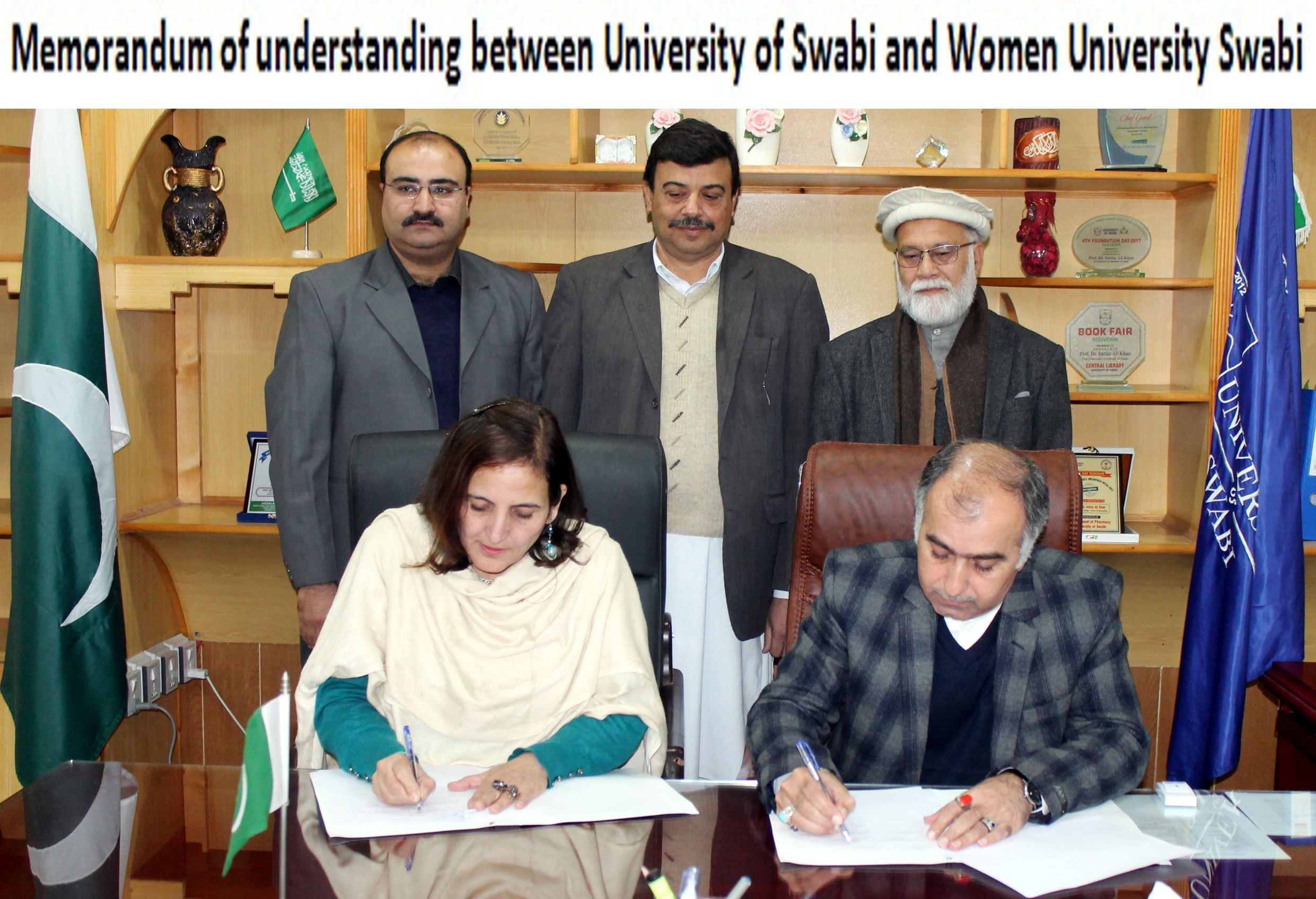 Memorandum of understanding between University of Swabi and Women University Swabi