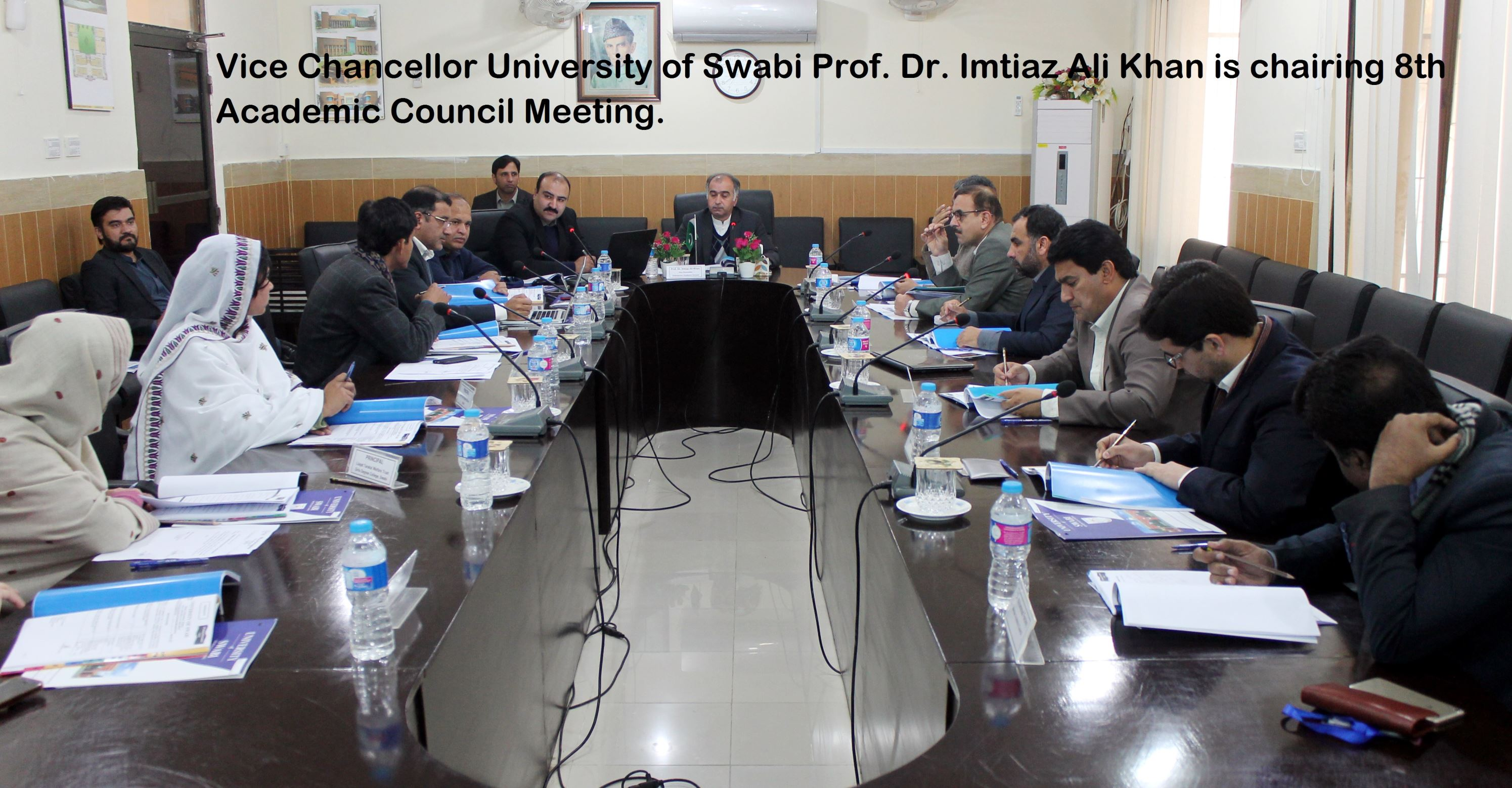 Vice Chancellor University of Swabi Prof. Dr. Imtiaz Ali Khan chairing 8th Academic Council Meeting.