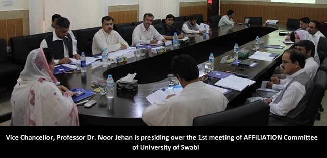 Vice Chancellor, Professor Dr. Noor Jehan is presiding over the 1st meeting of AFFILIATION Committee of University of Swabi